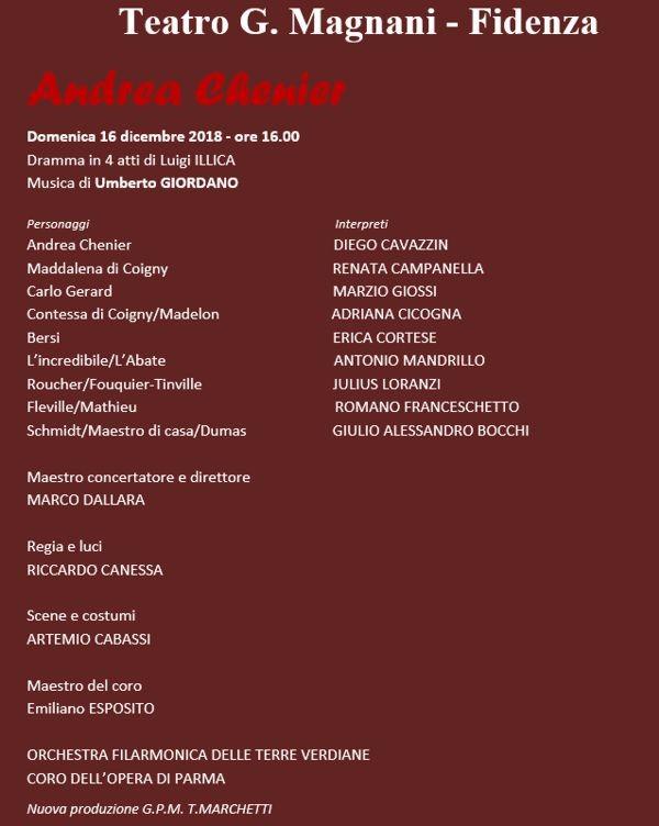 La Stagione lirico-concertistica 2018/2019 del Magnani di Fidenza: Andrea Chenier