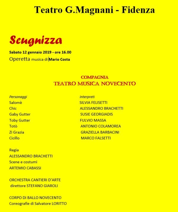 La Stagione lirico-concertistica 2018/2019 del Magnani di Fidenza: Scugnizza