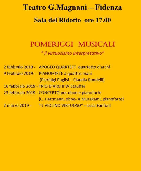 La Stagione lirico-concertistica 2018/2019 del Magnani di Fidenza: pomeriggi musicali