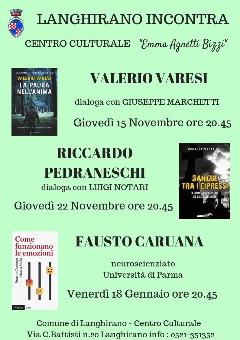 """Rassegna letteraria """"Langhirano Incontra"""" , con Valerio Varesi e..."""