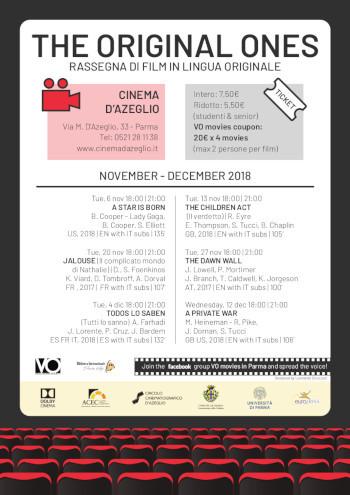 The original ones - rassegna di film in lingua originale al cInema D'azeglio, programma novembre-dicembre