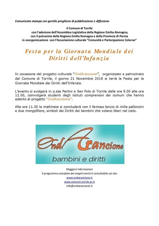 Festa per la giornata mondiale dei diritti dell'infanzia a Torrile
