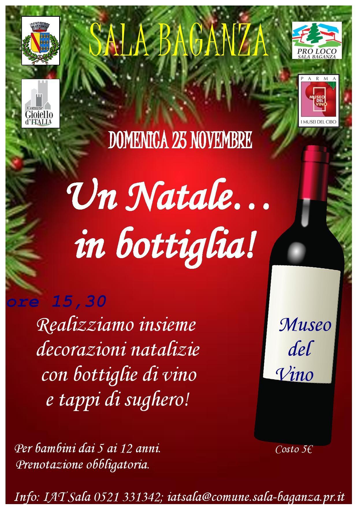 """""""Un Natale… in bottglia"""" con colori, lustrini e fantasia, laboratorio per bambini al Museo del Vino"""