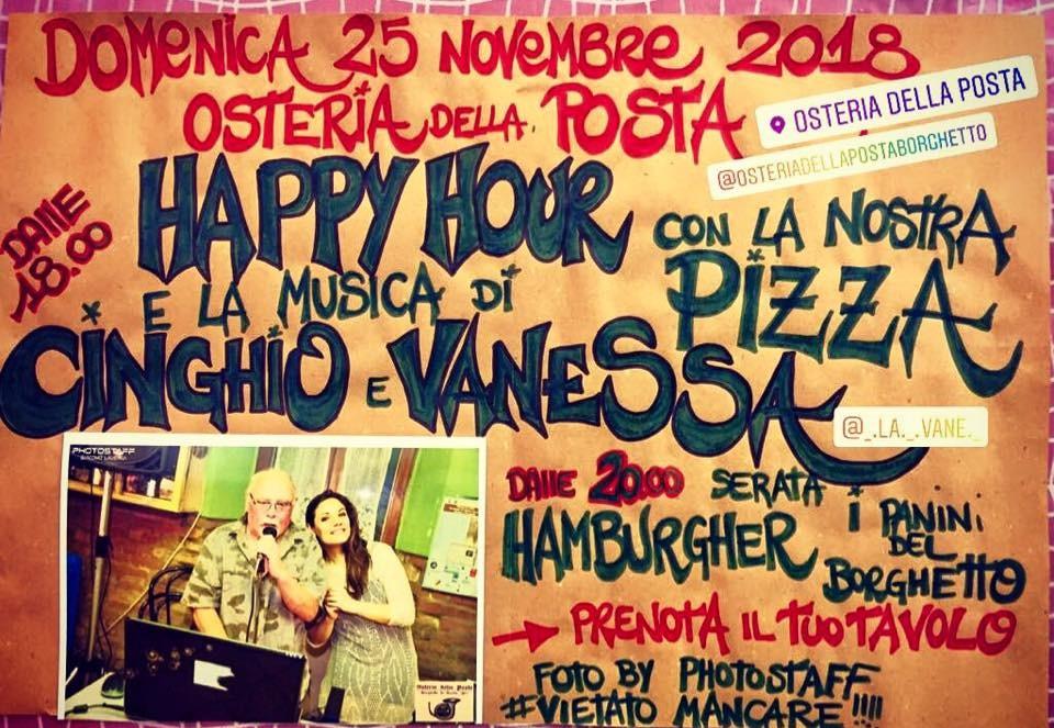 HAPPY HOUR con la nostra PIZZA e la musica di CINGHIO & VANESSA all' Osteria della Posta a Borghetto