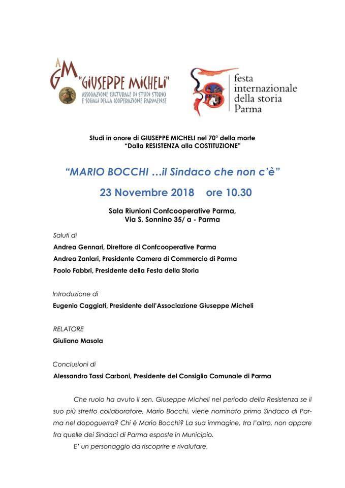 Festival internazionale della storia: conferenza su Mario Bocchi, primo sindaco di Parma