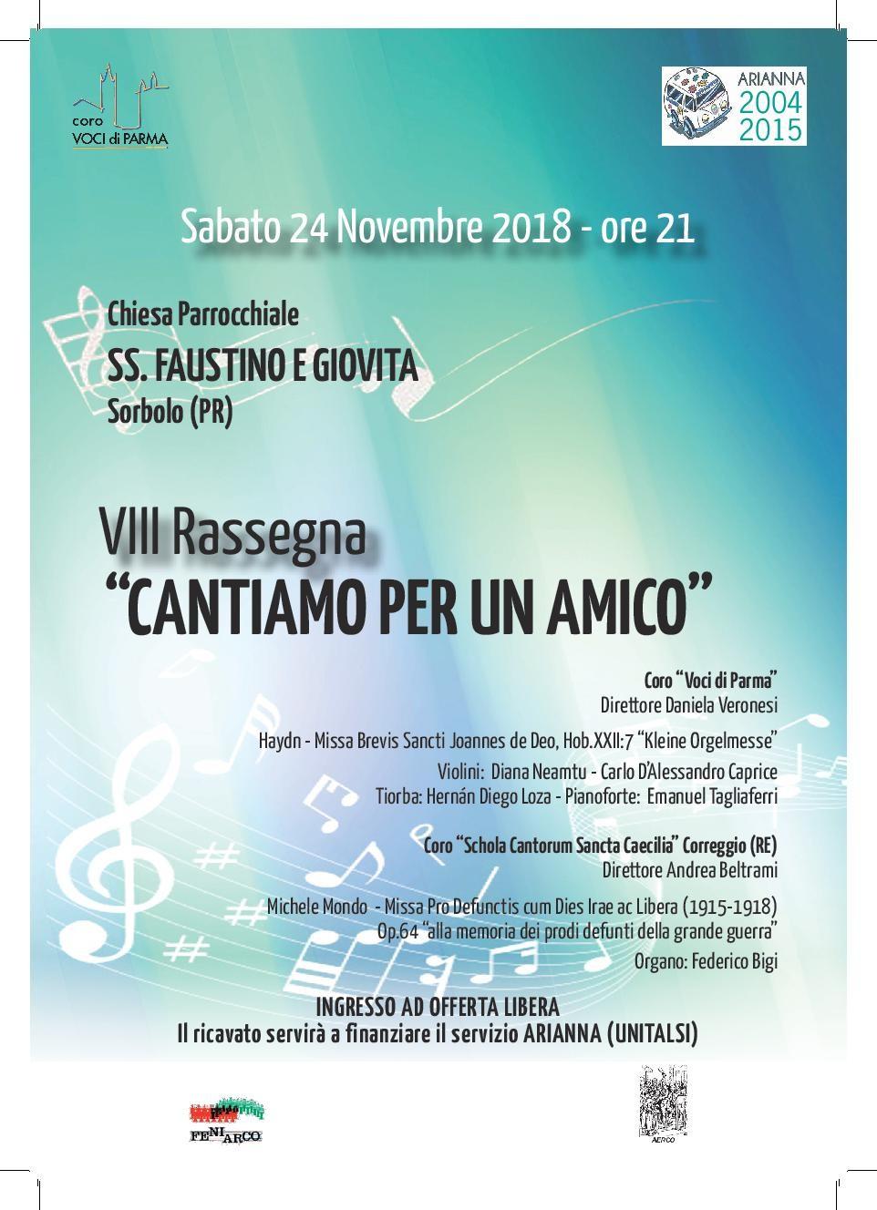 CONCERTO DI MUSICA RELIGIOSA VOCALE PER L'UNITALSI