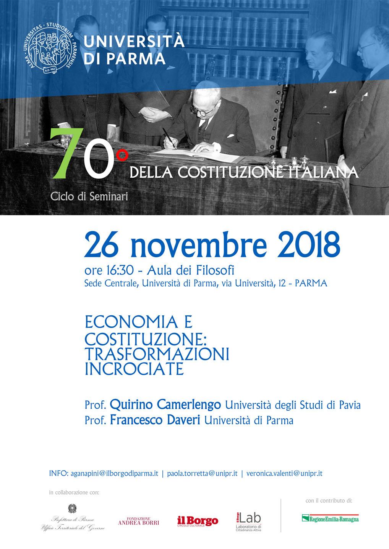 70° della Costituzione Italiana -  Economia e Costituzione: trasformazioni incrociate