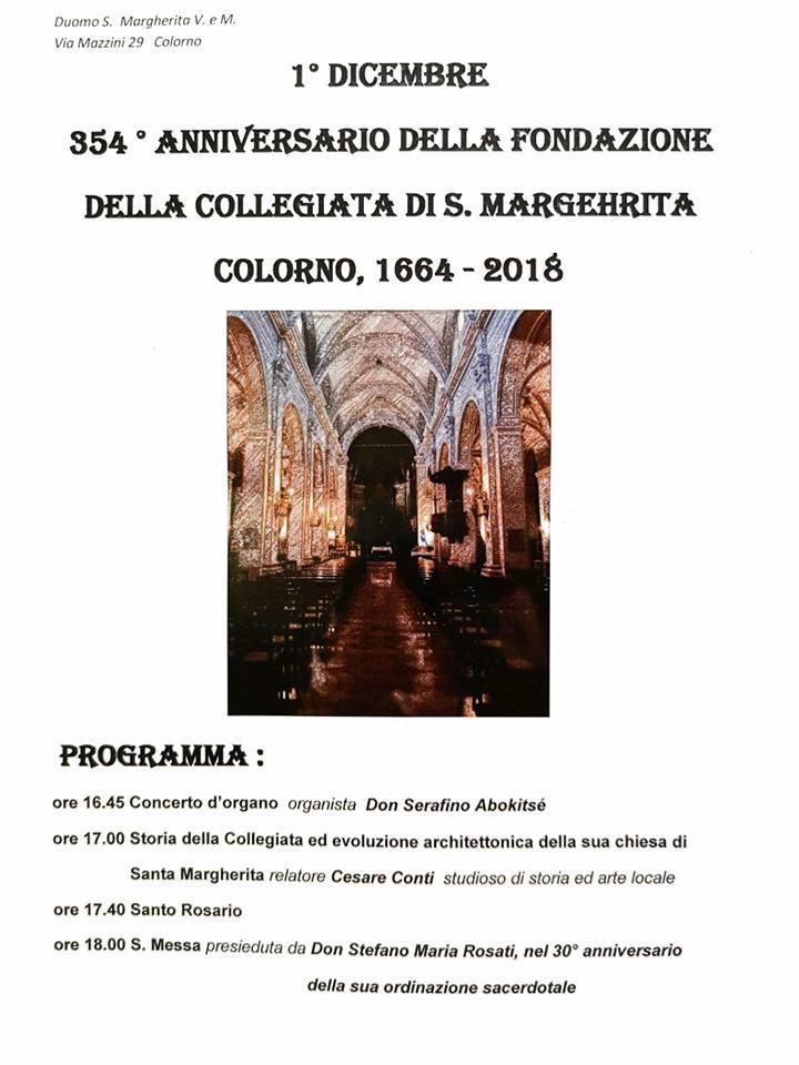 354° anno di fondazione della Collegiata di Santa Margherita di Colorno