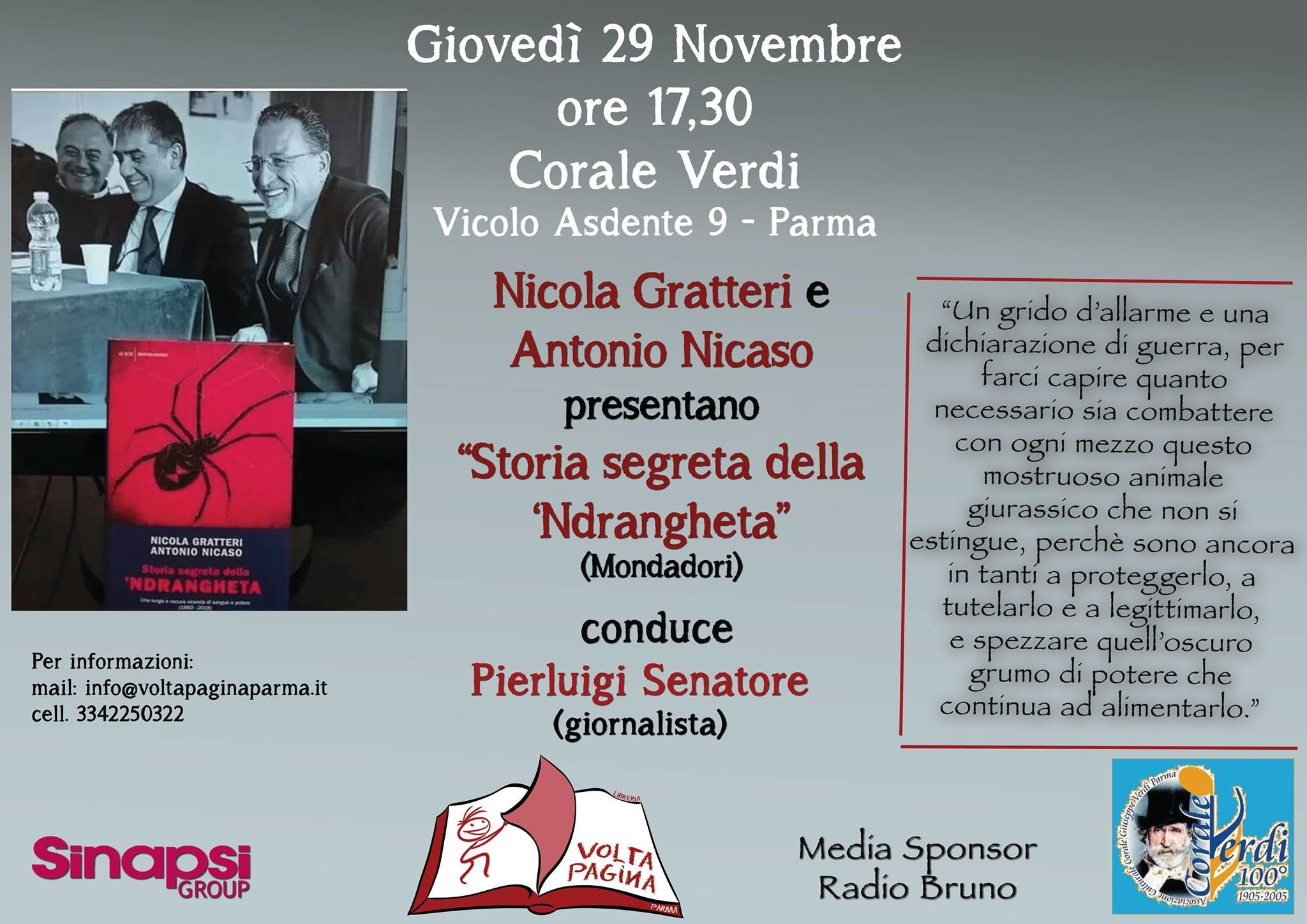 """Il magistrato Nicola Gratteri e lo storico Antonio Nicaso alla Corale Verdi per parlare di """"Storia segreta della n'drangheta"""":"""