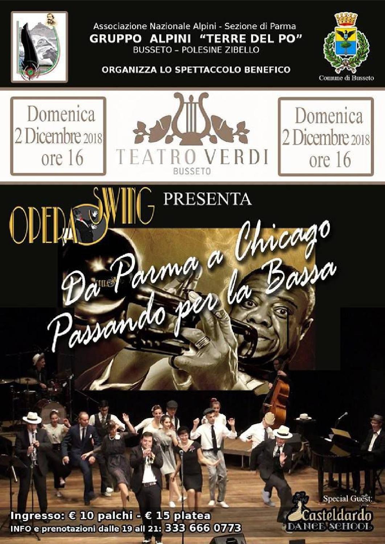 """""""Da Parma a Chicago, passando per la Bassa"""", lo spettacolo di Opera Swing al Teatro Verdi di Busseto."""