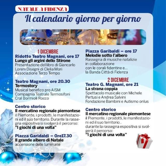 Natale a Fidenza,  programma dell'1 e 2  dicembre