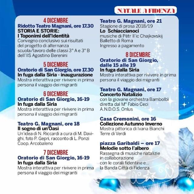 Natale a Fidenza,  programma dal 4 all'8 dicembre