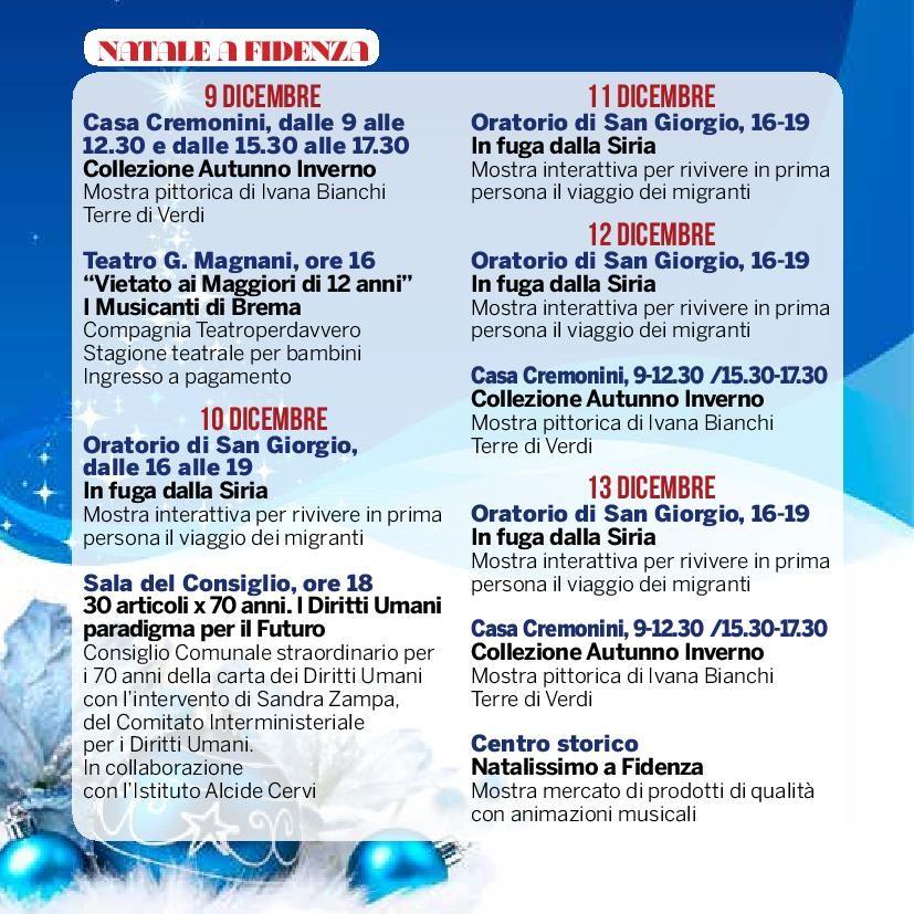 Natale a Fidenza,  programma dal 9 al 13 dicembre