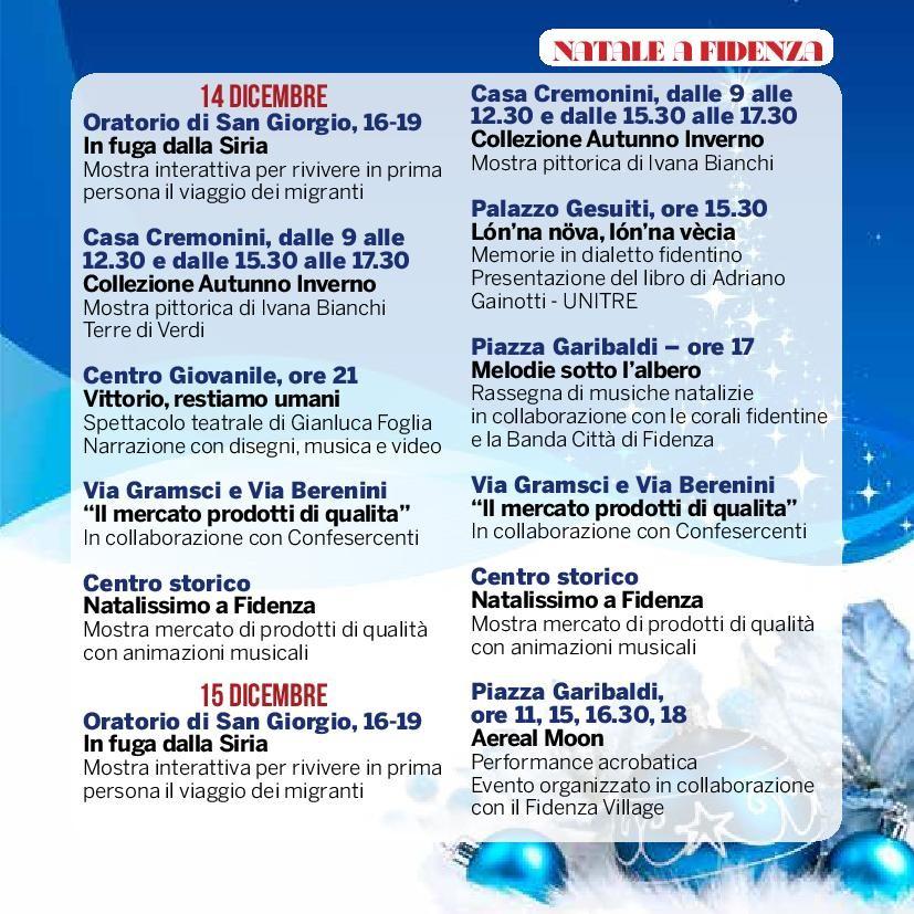 Natale a Fidenza,  programma dal  14 al 15 dicembre
