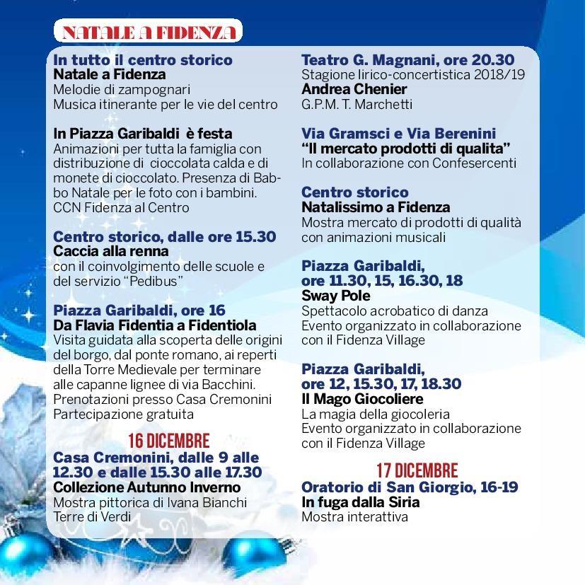 Natale a Fidenza,  programma dal  15 al 17 dicembre