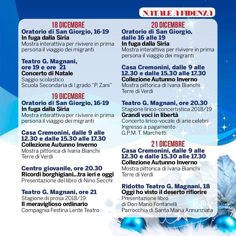 Natale a Fidenza,  programma dal  18 al 21 dicembre