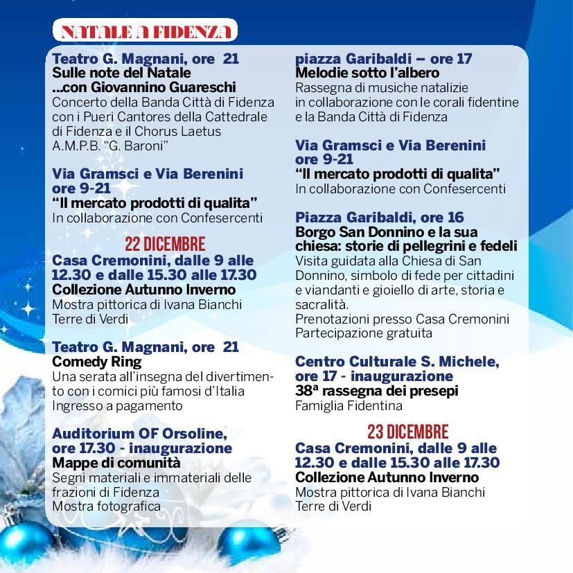 Natale a Fidenza,  programma dal  21 al 23 dicembre
