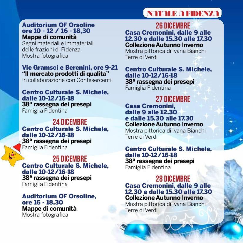 Natale a Fidenza,  programma dal  23 al 28 dicembre