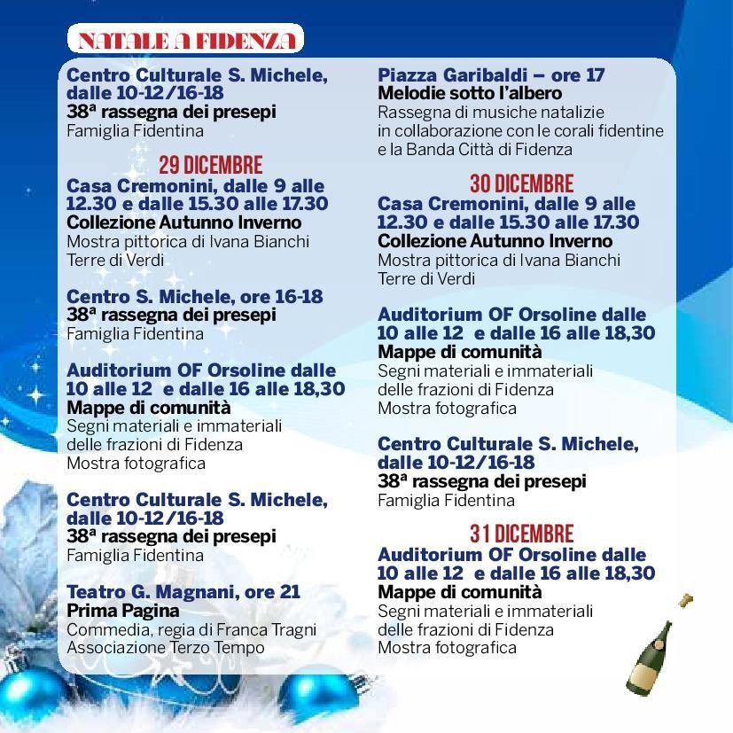 Natale a Fidenza,  programma dal  28 al 31 dicembre