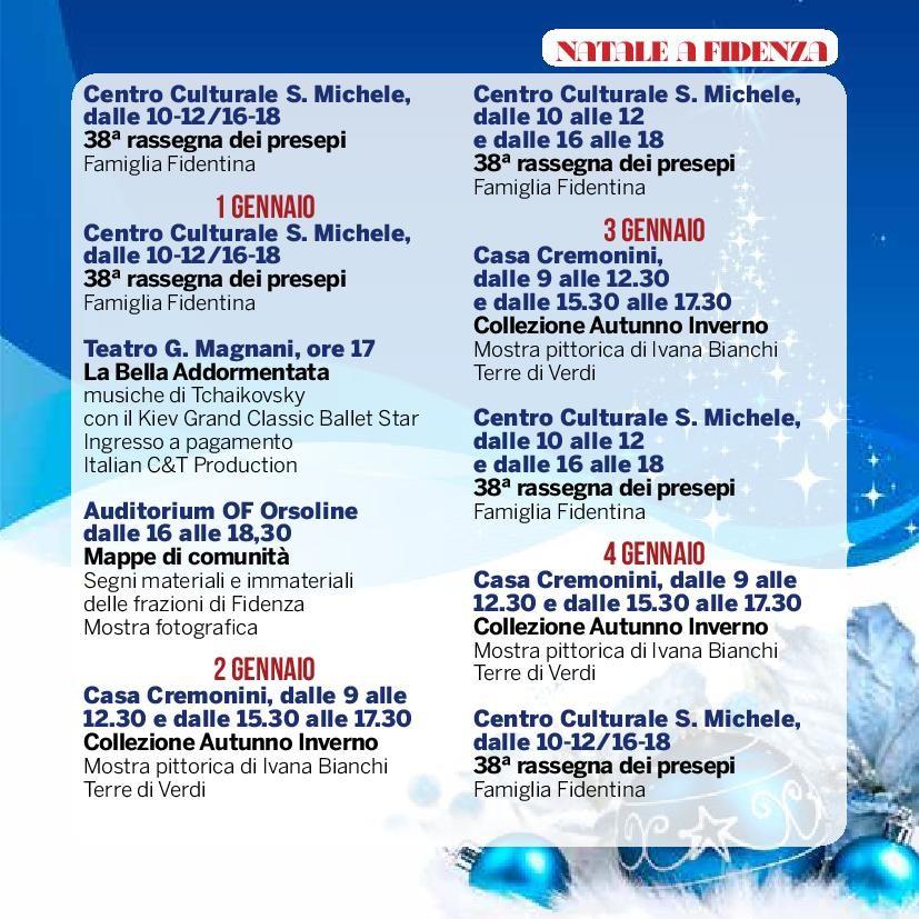Natale a Fidenza,  programma dal 31 dicembre al 4 gennaio