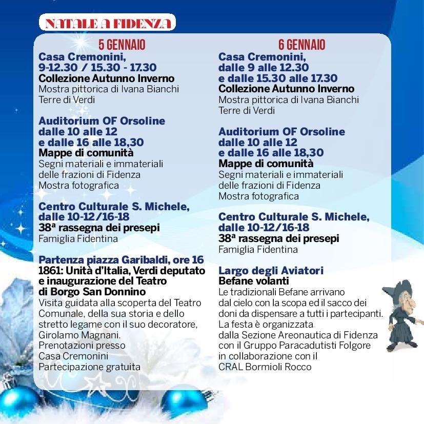 Natale a Fidenza,  programma del 5 e 6 gennaio