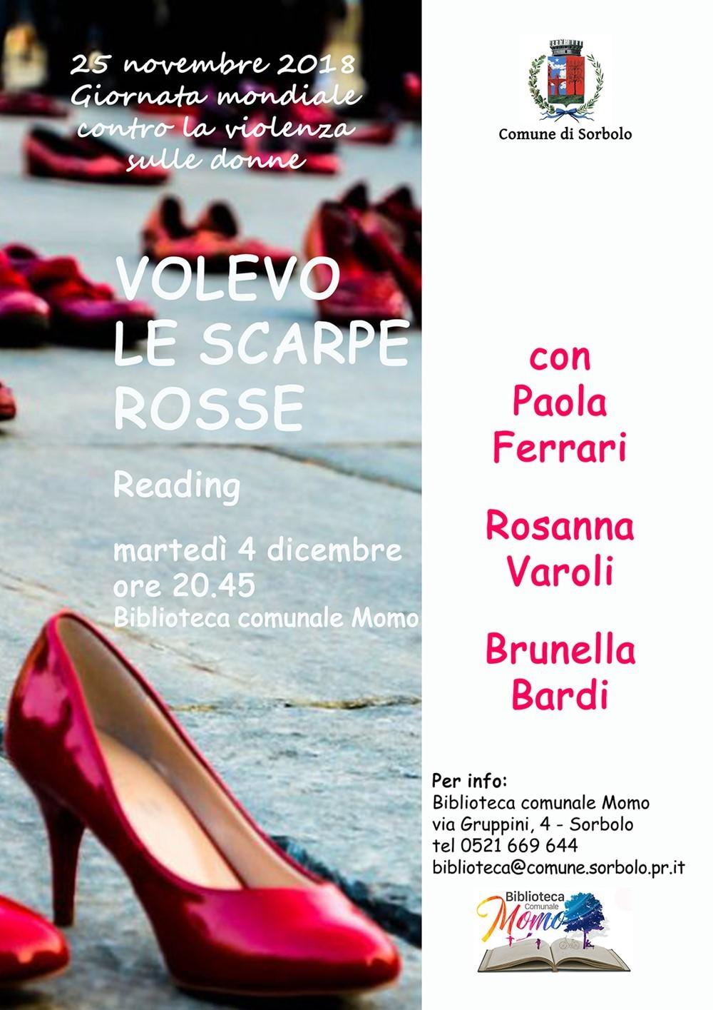 Volevo le scarpe rosse  Il 4 dicembre il reading musicale al Centro Civico di Sorbolo