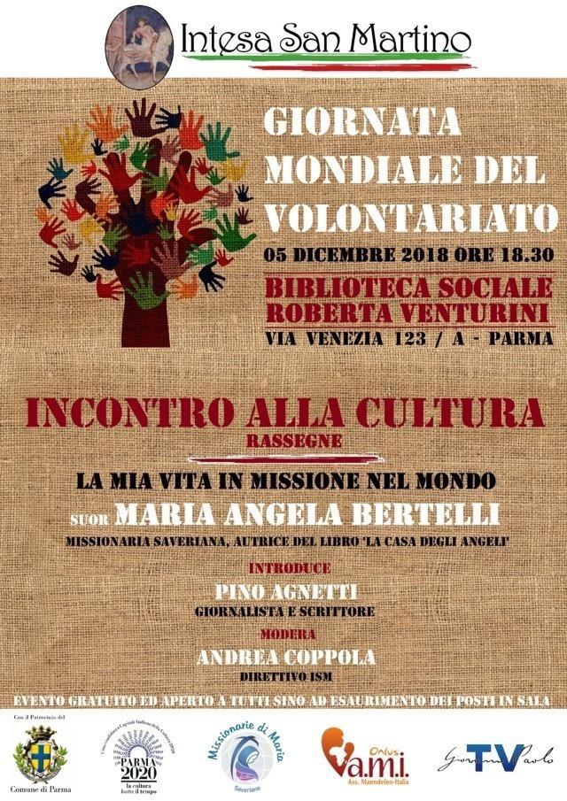 """Per la """"Giornata Mondiale del Volontariato"""" incontro con Suor Maria Angela Bertelli"""