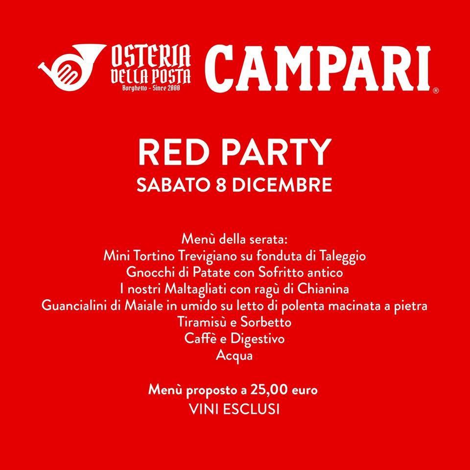 Cena Red Party all' Osteria della Posta a Borghetto