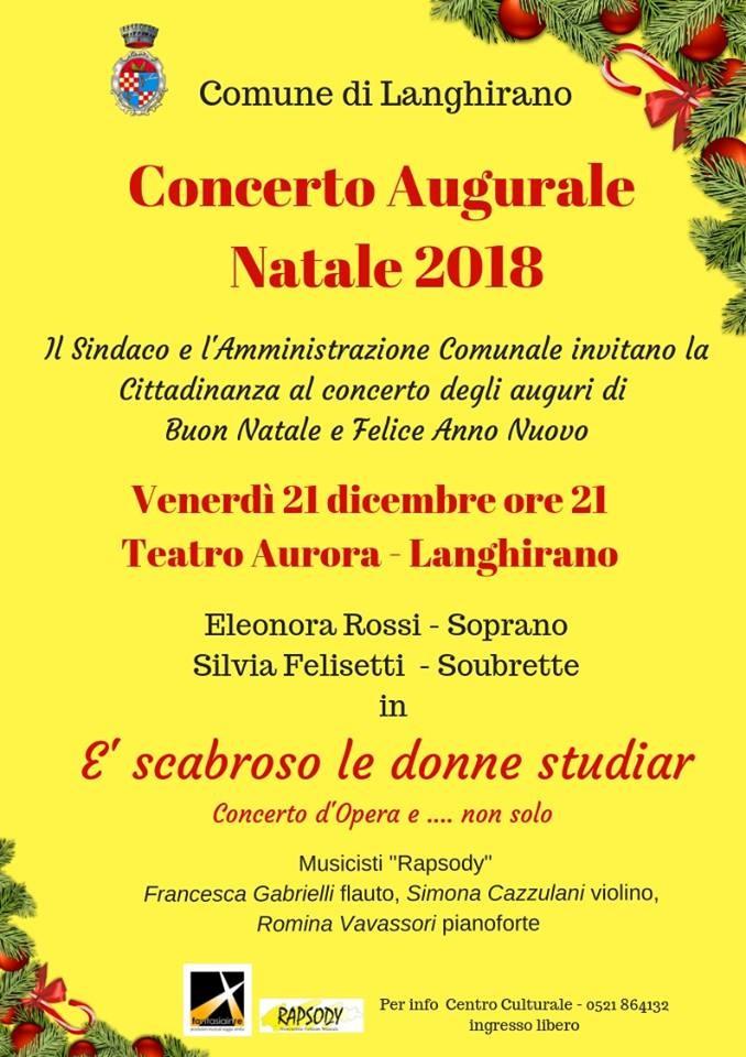 Concerto augurale  Natale 2018 a Langhirano