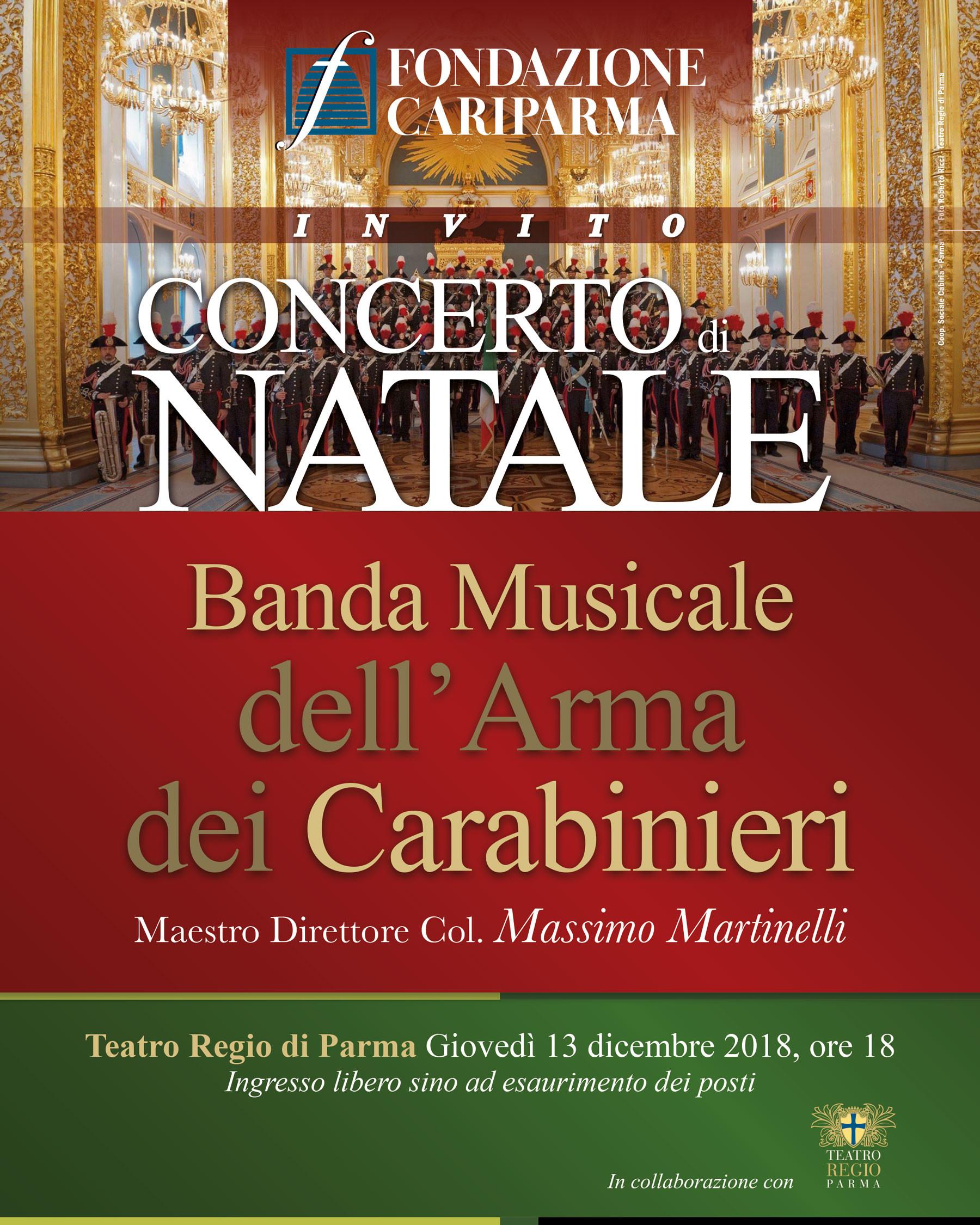 Concerto di Natale della Fondazione Cariparma con la Banda Musicale dell'Arma dei Carabinieri