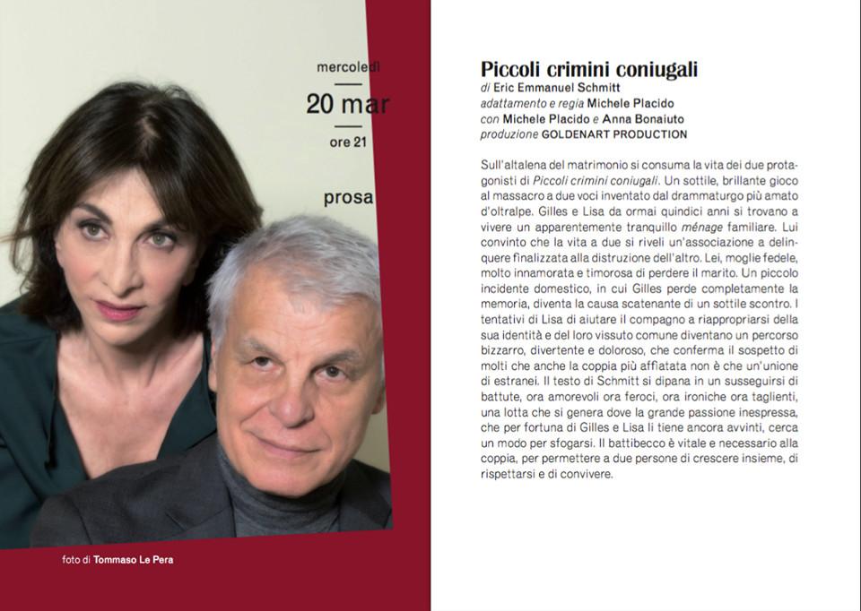 """""""Piccoli crimini coniugali"""" con Michele Placido e Anna Bonaiuto  al Teatro Verdi di Busseto"""