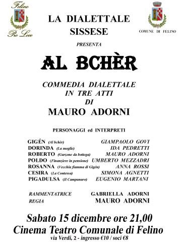 Teatro dialettale a Felino: Al bchèr
