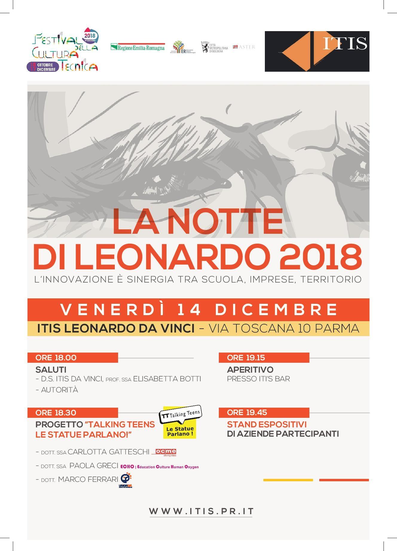 La Notte di Leonardo progettato e organizzato dall' ITIS Leonardo da Vinci di Parma