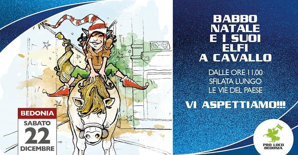 Babbo Natale e i suoi elfi a cavallo