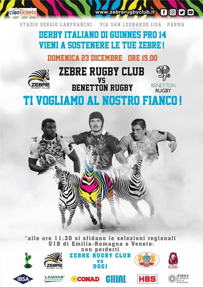 Guinness PRO14 Rugby: Zebre Rugby vs Benetton Rugby.