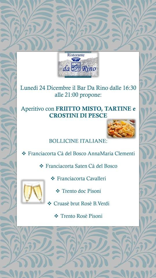 """Vigilia di Natale con Bollicine Italiane e Stuzzichini di Pesce """"DA RINO"""""""