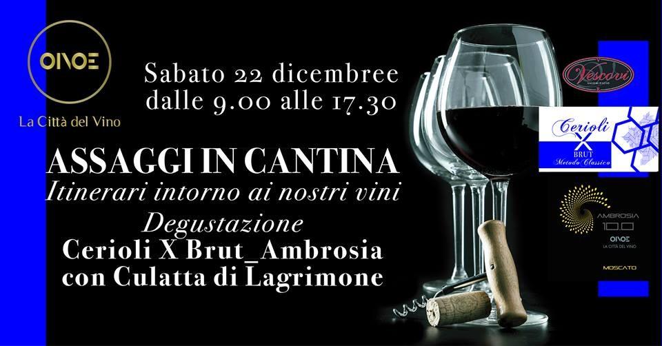 """Assaggi in cantina da OINOE la città del vino: """" moscato """"10.0 Ambrosia"""" e del Metodo Classico """"Cerioli X Brut"""""""