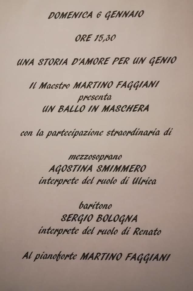 """Il maestro Martino Faggiani  racconta """"Un ballo in maschera"""""""