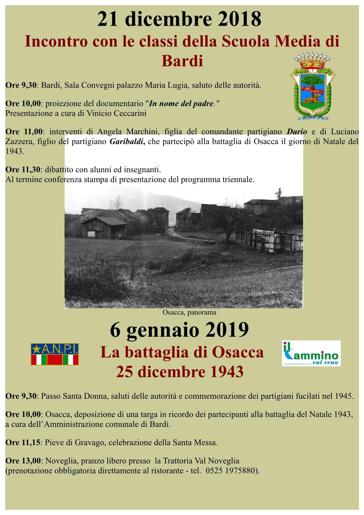 """""""La Battaglia di Osacca"""", celebrazioni a Bardi"""