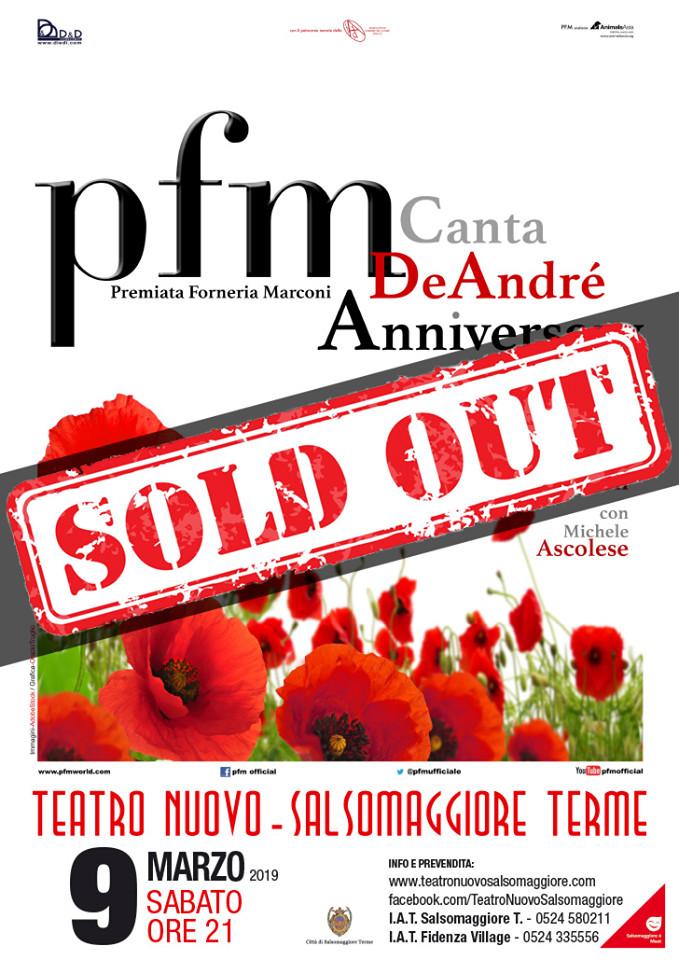 """""""PFM Canta De André Anniversary"""" al Teatro Nuovo di Salsomaggiore Terme"""