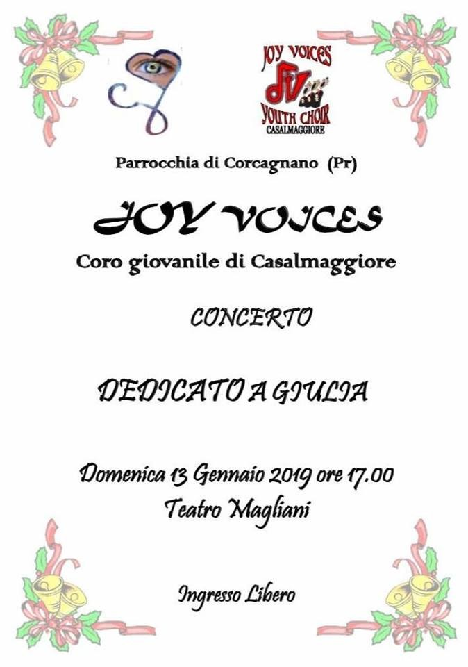 """""""Joy voices"""" Coro giovanile di Casalmaggiore in concerto dedicato a Giulia"""