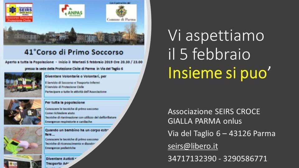 Corso di Primo Soccorsodell'Associazione SEIRS CROCE GIALLA PARMA
