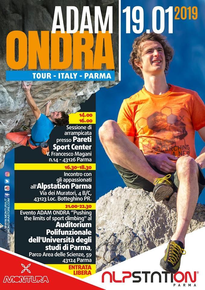 Adam Ondra a Parma il 19 gennaio
