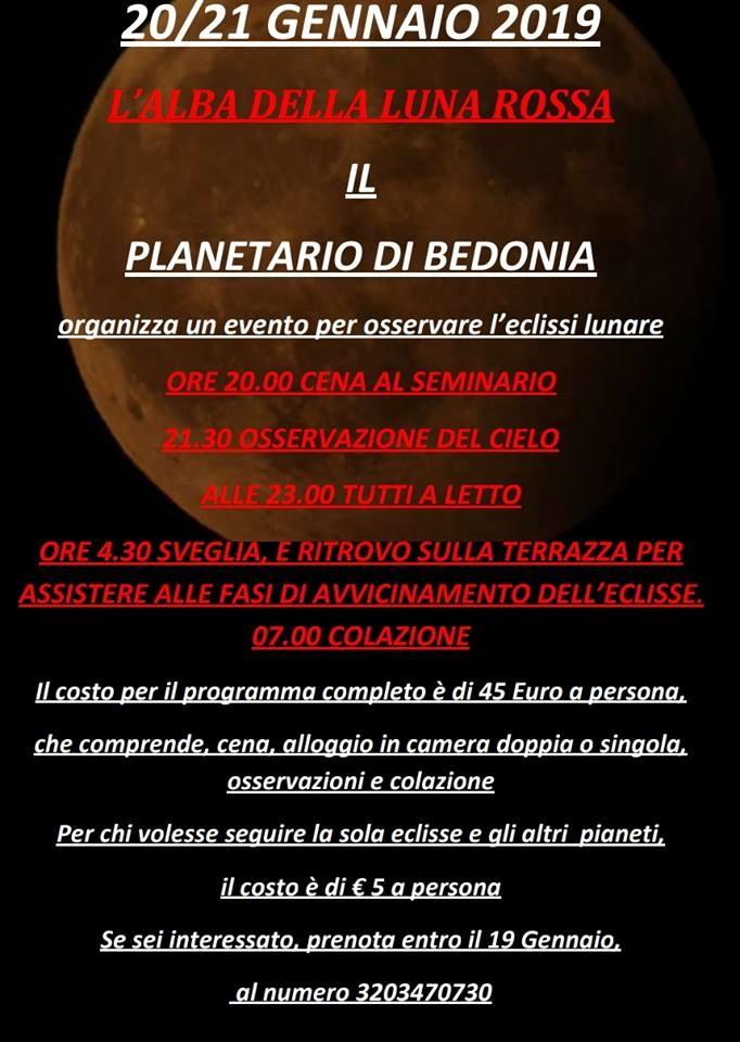 """Al Planetario Bedonia """"L'alba della Luna rossa"""""""