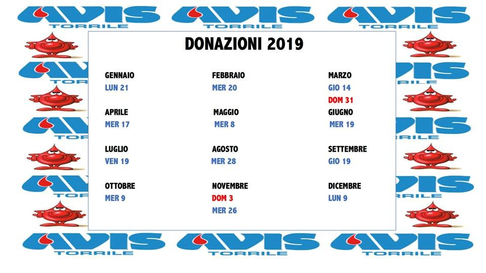 Calendario donazioni Avis torrile