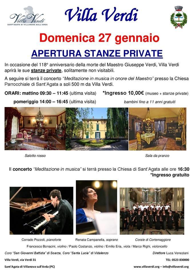 In occasione del 118° anniversario della morte del Maestro, Villa Verdi aprirà le sue stanze private. A seguire un concerto in memoria
