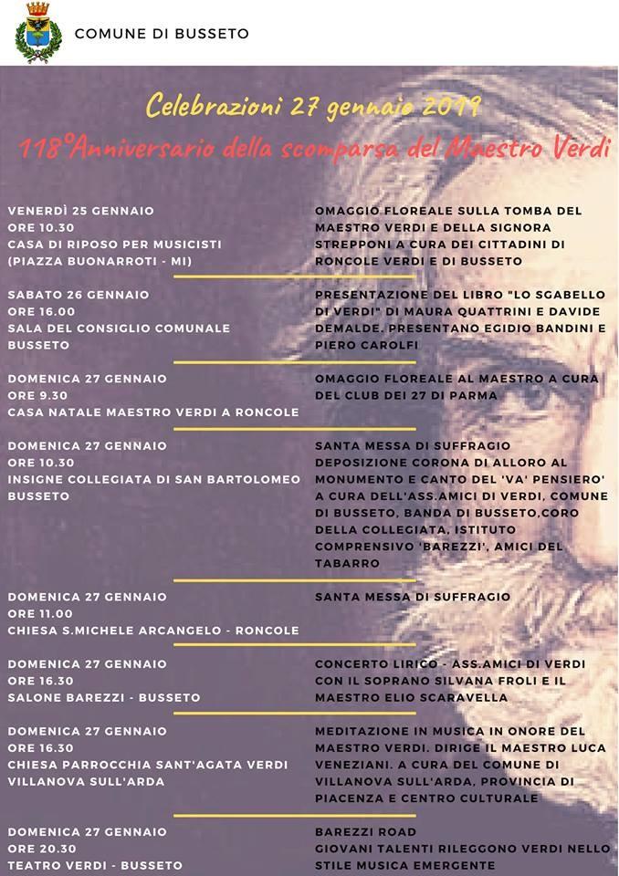 Celebrazioni del 118esimo anniversario della scomparsa del Maestro Verdi a Busseto
