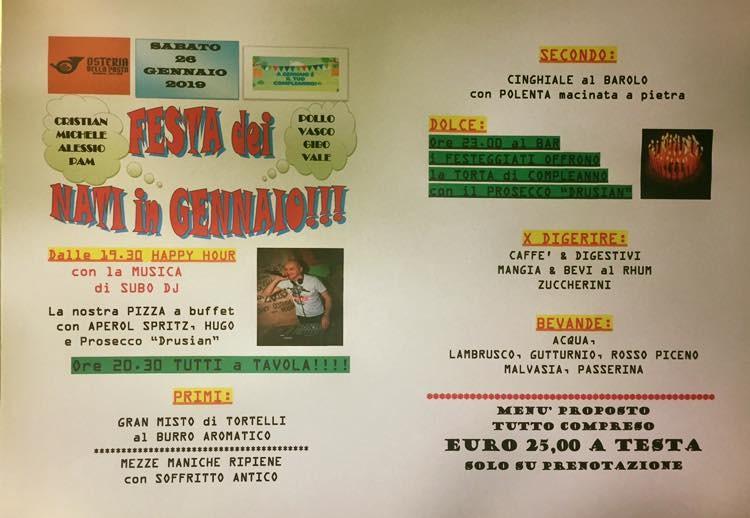 Festa dei nati a gennaio all'Osteria della Posta a Borghetto: menù