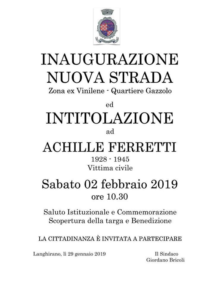 Cerimonia di Commemorazione dell'eccidio del 2 e 3 febbraio 1945, con Intitolazione di nuova strada ad Achille Ferretti