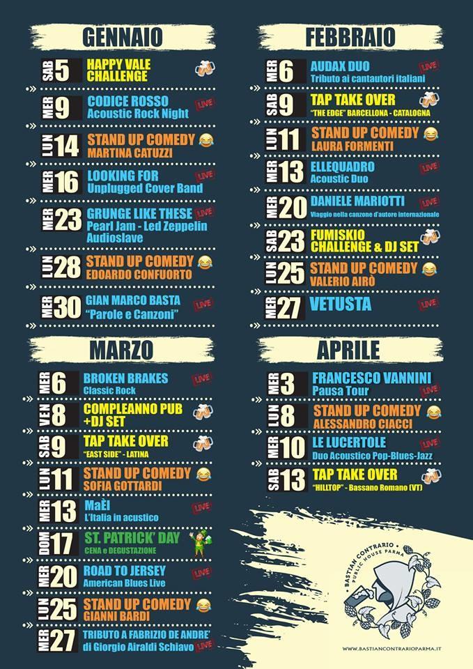 BASTIAN CONTRARIO: programma serate febbraio -aprile